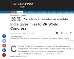 Times of India International PR success